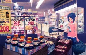anime girl shopping grocery store